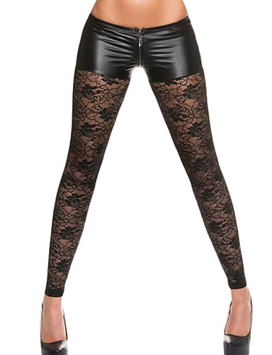 Women's Lace Metallic Shorts Attached Sexy Lace Leggings- Leggings