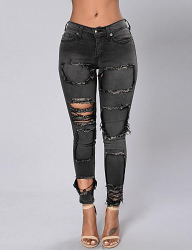 Women's Cut Out Solid Hin Thin Hole All Match Jeans PantsSimple- Women's Pants
