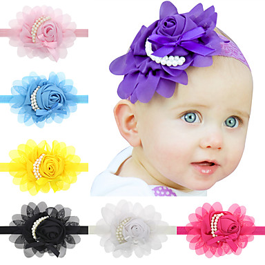 13Pcs/set Baby Girls Chiffon Pearl Flower Headband Todder Hair Accessories Infant Hairband- Hair Accessories