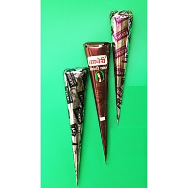 3 Pieces Henna Tattoo Kits Cones Red Brown Black Colors With 15
