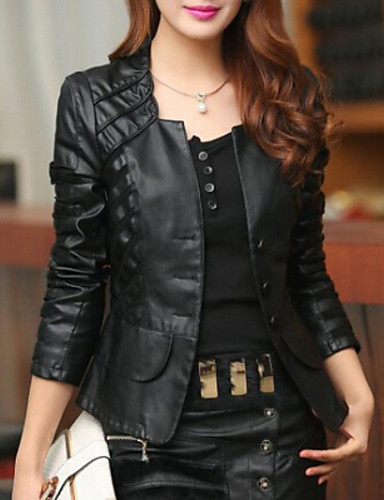 Women's Solid Red/Black/Green Jackets Casual Bateau Long Sleeve- Leather Jackets