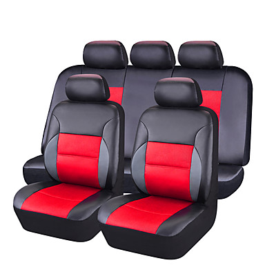 11Pcs PU Leather Auto Car-Covers Full Synthetic Set Seat Covers- Seat Accessories