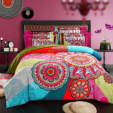 100% thick Sanded Cotton Bedding Set Queen King Double Bed Size- Bohemian Duvet Covers