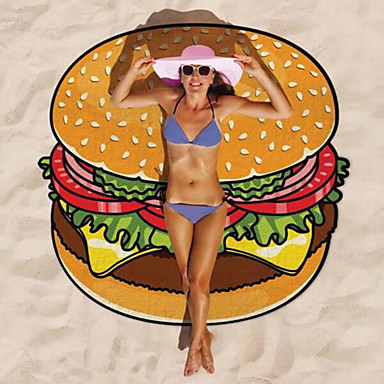 1Pcs 150*150Cm Round Donut Gigantic New Beach Towel Hamburger Pop Shawls Blanket Printed Shower Mat Pizza Hot Fashion- Home Textiles