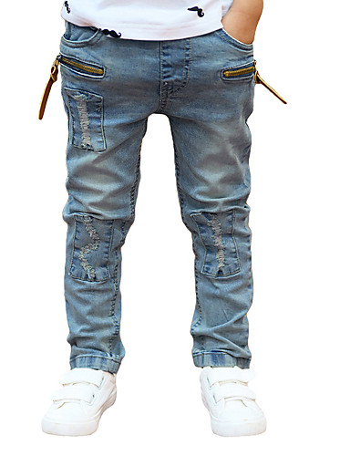 New Children Boys Denim Pants Ripped Patches Elastic Waist Kids Casual Jeans Trousers- Boys' Pants