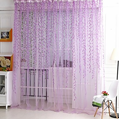 One Panel Rod pocket Country Living Room Polyester Sheer Curtains Shades- Home Textiles