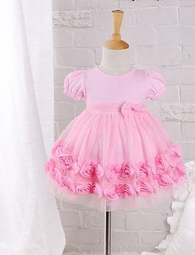 Baby Casual/Daily Solid Dress Cotton Nylon Summer Pink Rose Dress- Babies' Dresses