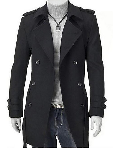 Men's Long Parka Coat Casual/Daily Plus Size Solid-Cotton Long Sleeve- Men's Jackets & Coats