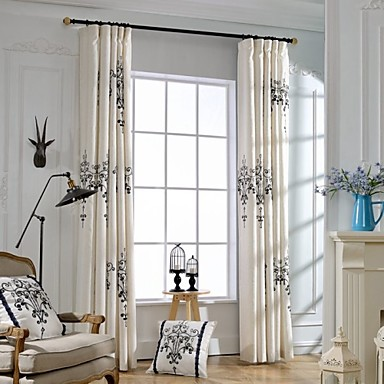 (Two Panels)Classic Pendant Lamp Pattern Embroidered Cotton Polyester Blend Curtain(Sheer Not Included)- Home Textiles