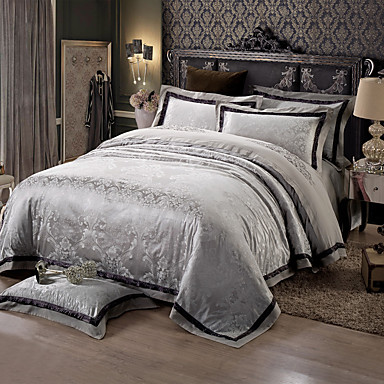 Black and gray Queen King Size Bedding Set Luxury Silk Cotton Blend Duvet Cover Sets- Home Textiles