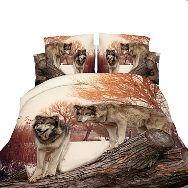 3D(random pattern) Duvet Cover Sets 4 Piece Polyester 3D Reactive Print Polyester Full 4pcs (1 Duvet Cover