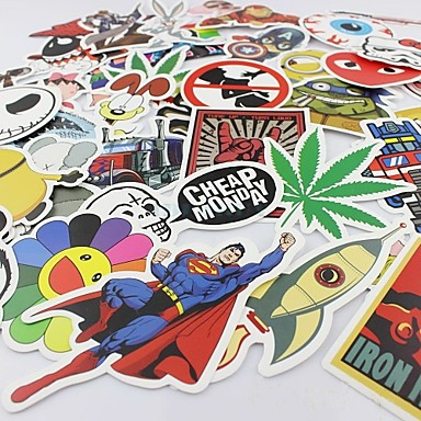 100 Pcs/ Pack Random Music Film Vinyl Skateboard Guitar Travel Case Sticker Car Decal Cute Stickers- Car Stickers