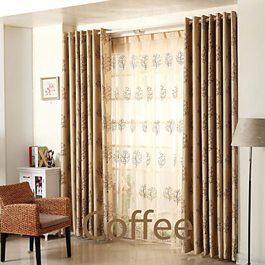 (Two Panels)Modern Dual-Side Trees Jacquard Faux Silk Polyester Blackout Curtain(Sheer Not Included)- Home Textiles