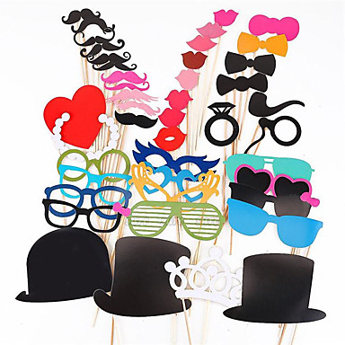 Photo Booth Props 44 Pcs/Set Photobooth For Wedding Birthday Party Photo Booth Props Glasses Mustache Lip On A Stick- Home Decor
