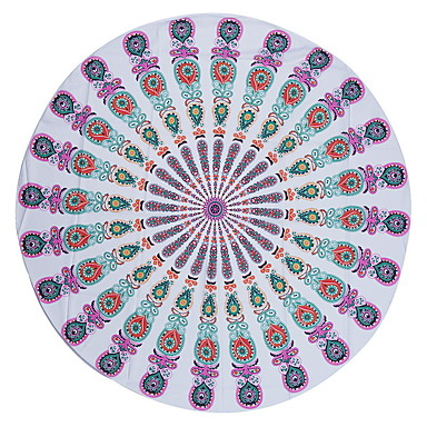 1Pc 150*150Cm Round Beach Towel Table Cloth Chiffon Beach TowelBohemian style Reactive Print High Quality 100% Polyester Towel- Home Textiles
