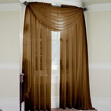 One Panel Rod pocket Multicolour Polyester Sheer Curtains Shades-