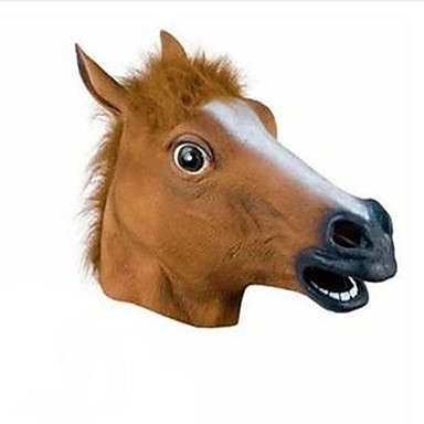 Full Head Mask Horse Head Mask Creepy Fur Mane Latex Realistic Crazy Rubber Super Creepy Party Halloween Costume Mask- Home Decor