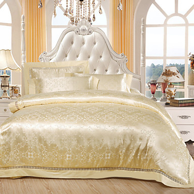 Floral Duvet Cover Sets 4 Piece Cotton Tencel Luxury Reactive Print Cotton Tencel Queen King 1pc Duvet Cover 2pcs Shams 1pc Flat Sheet- Duvet Covers
