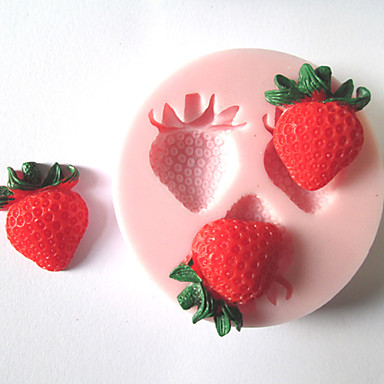 Three Holes Strawberry Fruit Silicone Mold Fondant Molds Sugar Craft Tools Chocolate Mould For Cakes- Baking Molds