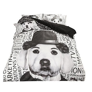 Animal Duvet Cover Sets 4 Piece Polyester cartoon Reactive Print Polyester Queen 1pc Duvet Cover 2pcs Shams 1pc Flat Sheet- Home Textiles