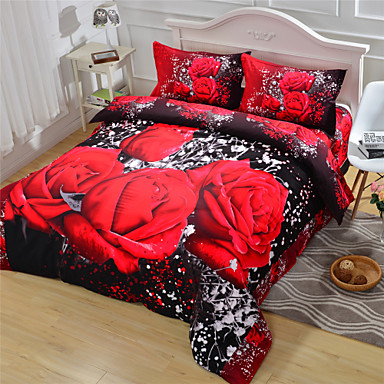 3D Duvet Cover Red Rose Queen Size Beds 100% Cotton- Duvet Covers