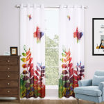 Two Panels Modern Floral / Botanical Multi-color Living Room Polyester Sheer Curtains Shades 140cm Per Panel- Home Textiles