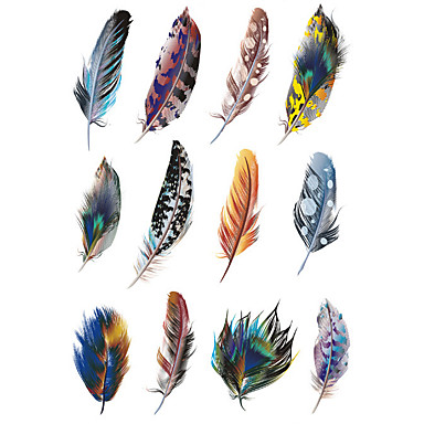 1.3*2.7in Cover scratches stickers Colorful feathers stickers for car (12pcs)01- Car Stickers