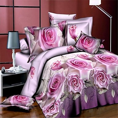 3D(random pattern) Polyester 4 Piece Duvet Cover Sets- Duvet Cover Sets