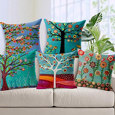Set of 5 Beautiful Flower Tree Cotton/Linen Decorative Pillow Cover- Home Decor