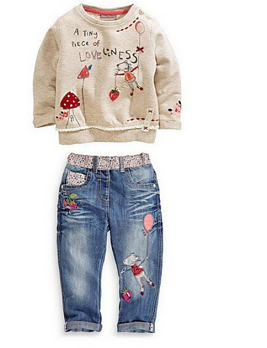 Girl's Cotton Blend Jeans/Clothing Set Spring/Fall Long Sleeve- Girls' Clothing Sets
