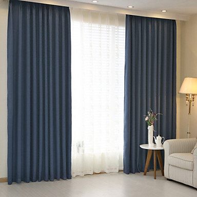 Modern Solid Blue Brown Bedroom Linen Cotton Blend Panel Curtains Drapes