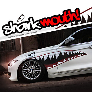 A Size 6020cool Shark Mouth Teeth Ho Car Auto Body Decals Sticker Reflective 1 Pair