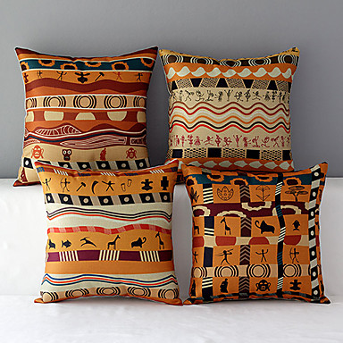 Set of 4 Africa Style Patterned Cotton/Linen Decorative Pillow Covers- Home Decor