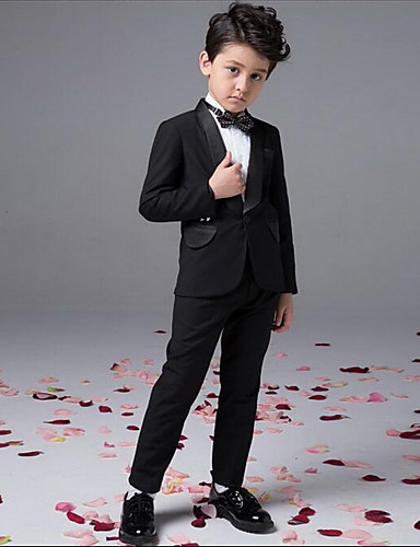 Boy's Party/Cocktail Solid Suit & BlazerCotton All Seasons Black set- Boys' Jackets & Coats