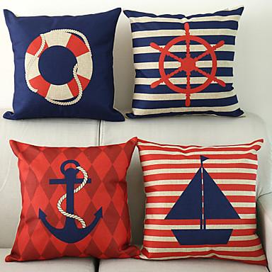 Set Of 40 Nautical Pattern CottonLinen Decorative Pillow Cover Eiibso Impressive Nautical Decorative Pillow Covers