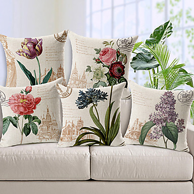 Set of 5 Country Style Flowers Patterned Cotton/Linen Decorative Pillow Cover- Home Decor