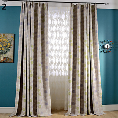 Blackout Printing Flower Two Color Curtains Drapes Two Panel- Home Textiles