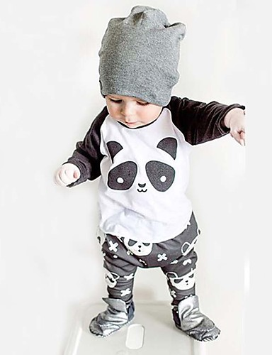 Baby Fashionable And Lovely Cotton Cartoon Characters Round Collar Shirt Pants Two-Piece Outfit- Babies' Clothing Sets