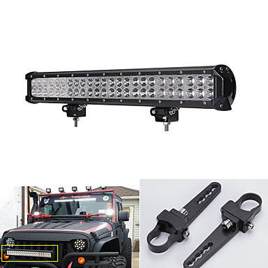 144W LED Light Bar for Work Driving Boat Car Truck 4x4 SUV ATV Off Road Fog Lamp +A-pair mounting brackets 1inch- Daytime Running Lights