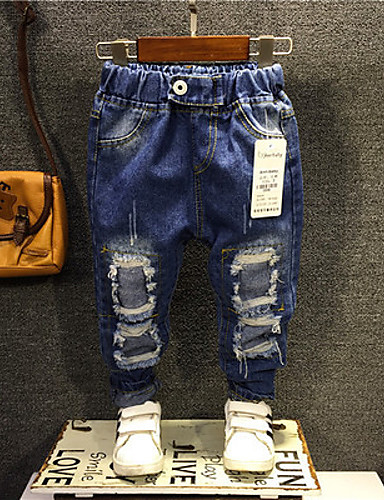 Boy's Casual/Daily Solid JeansCotton Spring Blue- Boys' Clothing