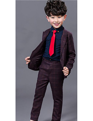 Boy's Formal Solid Suit & BlazerCotton Spring / Fall Blue / Purple- Boys' Jackets & Coats
