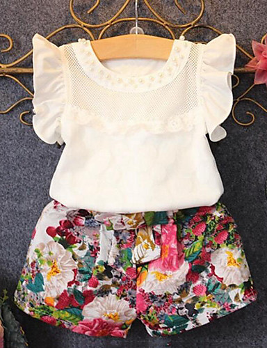 Cotton Polyester Summer Short Sleeve Clothing Set-