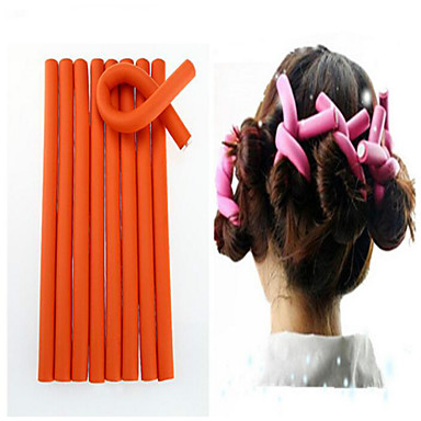 10 Pcs/Set Soft Hair Curler Roller Curl Hair Bendy Rollers Diy Magic Hair Curlers Tool 24*1.2Cm Random Colors- Hair Rollers