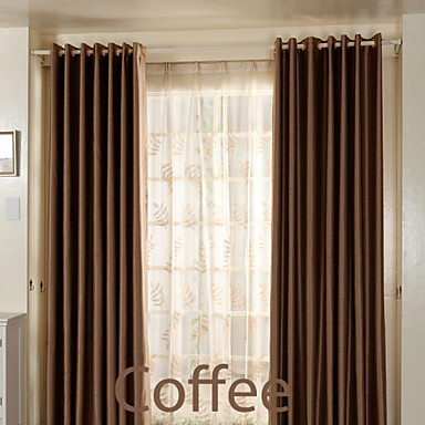(Two Panels)Modern Triple Layer Faux Silk Polyester High Efficient Blackout Curtain(Sheer Not Included)- Home Textiles