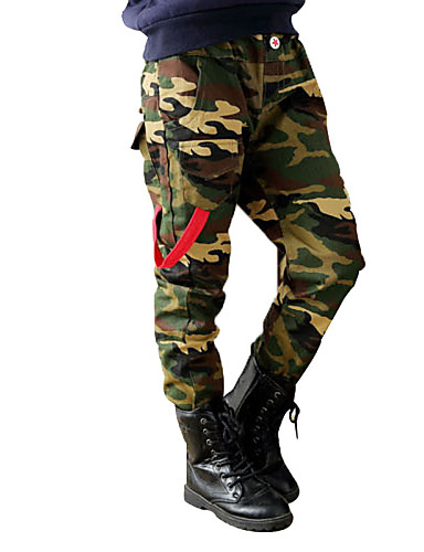 Boy's Cotton Super Fall /Spring Fashion Cartoon Military Camouflage Leisure Pants- Boys' Pants