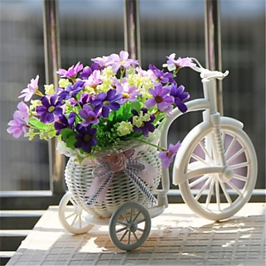 "8""H Modern Multicolor Daisies in White Basket Bike- Home Decor"