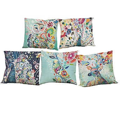 Set of 5 Watercolor peacock pattern Linen Pillowcase Sofa Home Decor Cushion Cover (18*18inch)- Home Decor