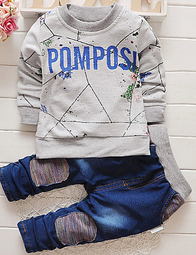 Boy Fashion Autumn New Round Collar Letter Head Top And Denim Trousers Two-Piece Shirt- Boys' Clothing Sets