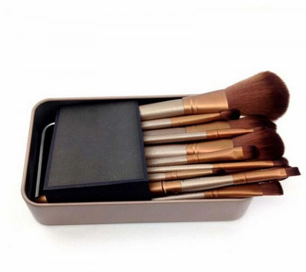 12 pcs Makeup Goat Hair Brushes Set Kit