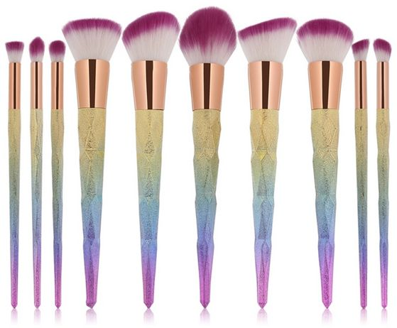 10Pc Magic Mermaid Rainbow Handle Makeup Brushes Set Highlight Contour Cosmetic Beauty Brush Kit